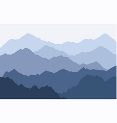 Scenic panorama with foggy mountains vector