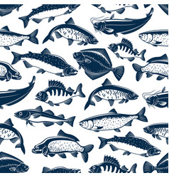 Sea and ocean fishes seamless pattern background vector