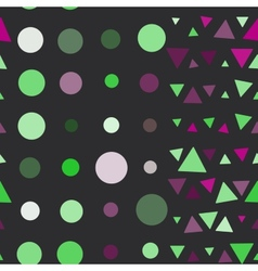 Seamless pattern of circles and triangles pink vector image