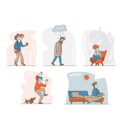 set characters with mental problems bipolar brain vector image