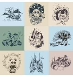 Set of images with painted fantastic creatures vector image