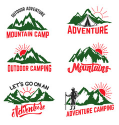 Set of mountain camping badges isolated on white vector