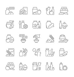 Set simple icons food additives vector