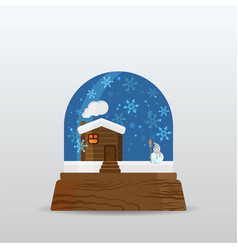 snow ball snow globe with little house snow and vector image