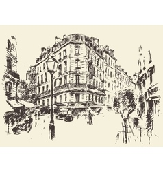Streets Paris France vintage drawn vector image