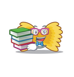 Student with book farfalle pasta mascot cartoon vector