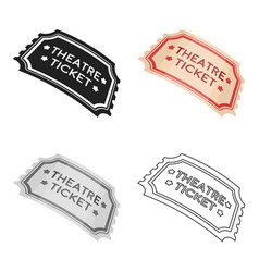 Theatre ticket icon in cartoon style isolated on vector