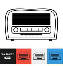 transparent retro radio icon vector image