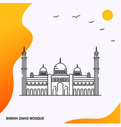 travel sheikh zahid mosque poster template vector image