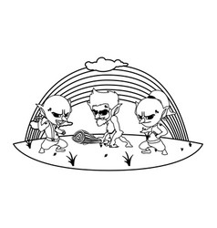 Ugly trolls with caveman gnome and rainbow scene vector