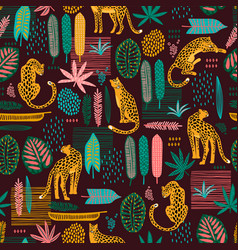Vestor seamless pattern with leopards and abstract vector