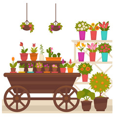 Wagon with flower pots vector