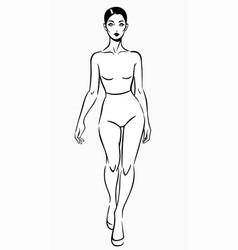Walking model simple sketch drawing vector