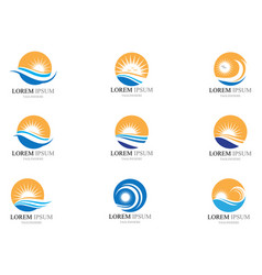 Water wave and sun icon design vector