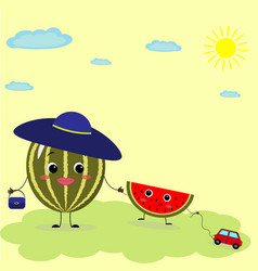 watermelons smiley in cartoon style vector image