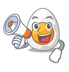 With megaphone cartoon boiled egg sliced for vector