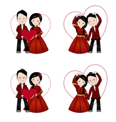 Chinese wedding cartoon in traditional dress vector image vector image