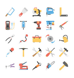 flat power tools icons set vector image vector image