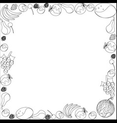 frame of different fruit vector image vector image