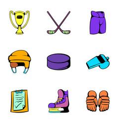 hockey stadium icons set cartoon style vector image vector image