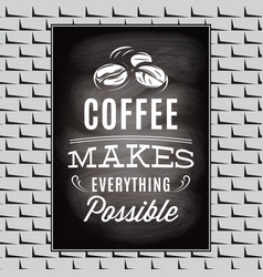quotation on a topic of coffee on black board and vector image vector image