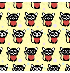 Seamless pattern cute cats with hearts vector image vector image