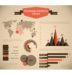 Brown and red retro vintage set of Infographic vector image vector image