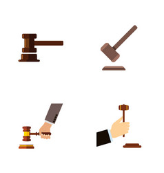 flat icon lawyer set of tribunal law government vector image vector image
