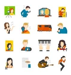 Pop Singer Flat Icons Set vector image vector image