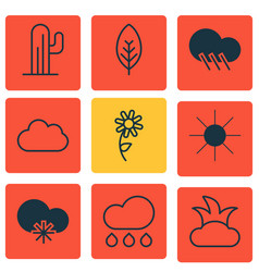 Set of 9 landscape icons includes raindrop cold vector