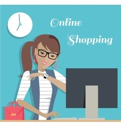 Fashion Woman Online Shopping with Computer vector image