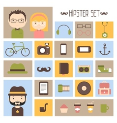 Hipster colorful style elements and characters vector image