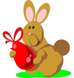 Holiday hare gift egg in color 02 vector image vector image