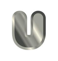 Letter u steel font metal alphabet sign iron abc vector