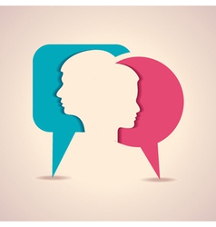 male and female face with message bubble vector image vector image