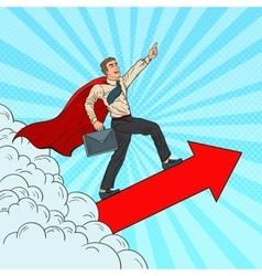 Pop Art Hero Super Businessman Flying vector image vector image