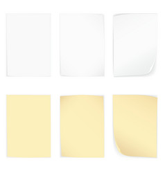 Yellow and whire stick blank note paper set vector image