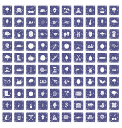 100 agriculture icons set grunge sapphire vector