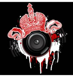 5graffiti red crown and loudspeaker vector image