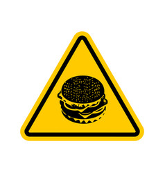 attention hamburger dangers of yellow road sign vector image vector image