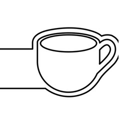 monochrome contour with coffee cup and banner vector image