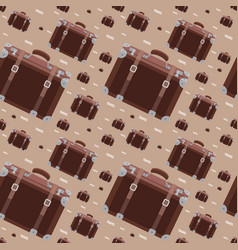seamless hipster pattern with retro suitcase vector image