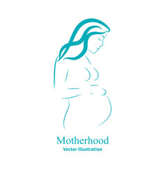 sketch of a pregnant woman vector image
