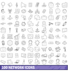 100 network icons set outline style vector image