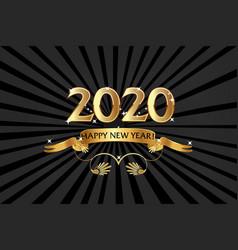 2020 happy new year golden emblem background vector