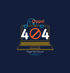 404 error with icon line notebook error vector image