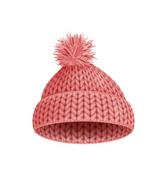 A knitted winter cap on white background vector