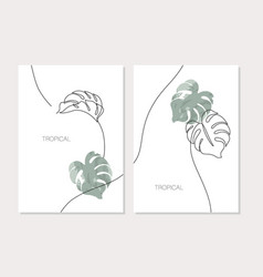 abstract minimal monstera leaves posters set vector image