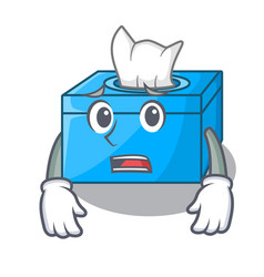 Afraid cartoon tissue box on a sideboard vector