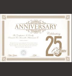 Anniversary retro vintage background 25 years vector